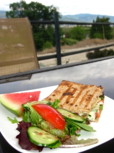 Roasted Vegetable Pannini with House Salad and Watermelon
